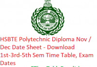 HSBTE Polytechnic Diploma Nov / Dec Date Sheet 2018-19 - Download Winter Semester Time Table, Exam Dates
