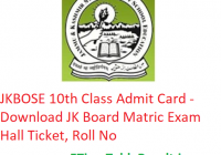 JKBOSE 10th Class Admit Card 2019 - Download JK Board Matric Exam Hall Ticket, Roll No