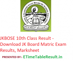JKBOSE 10th Class Result 2019 - Download JK Board Matric Exam Results, Marksheet
