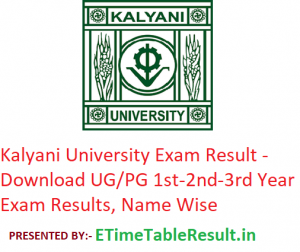 Kalyani University Result 2019 - Download UG/PG 1st-2nd-3rd Year Results, Name Wise
