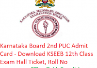 Karnataka Board 2nd PUC Admit Card 2019 - Downlaod KSEEB 12th Class Exam Hall Ticket, Roll No