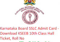 Karnataka Board SSLC Admit Card 2019 - Download KSEEB 10th Class Hall Ticket, Roll No