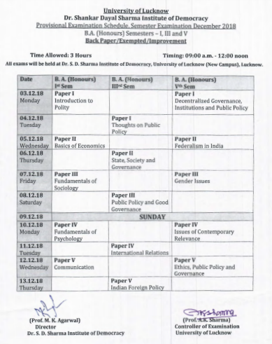 Lucknow University December 2018 Semester Examination Date Sheet