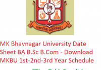 MK Bhavnagar University Date Sheet 2019 BA B.Sc B.Com - Download MKBU 1st-2nd-3rd Year Exam Schedule