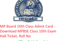 MP Board 10th Class Admit Card 2019 - Download MPBSE Class 10 Exam Hall Ticket, Roll No