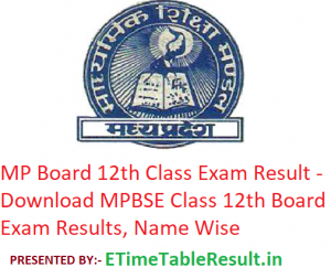 MP Board 12th Class Result 2019 - Download MPBSE CLass 12 Exam Results, Name Wise