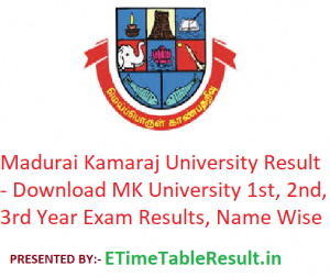 Madurai Kamaraj University Result 2019 - Download MK University 1st-2nd-3rd Year Exam Results, Name Wise