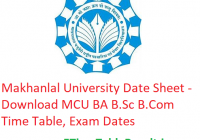 Makhanlal University Date Sheet 2019 - Download MCU BA B.Sc B.Com Time Table, Exam Dates