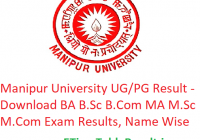 Manipur University Result 2019 - Download Latest Annual Semester Exam Results, Name Wise