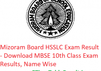 Mizoram Board HSSLC Result 2019 - Download MBSE 12th Class Exam Results, Name Wise