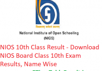 NIOS 10th Class Result 2019 - Download NIOS Board Class 10th Exam Results, Name Wise