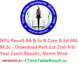 NPU Result 2019 BA B.Sc B.Com B.Ed MA M.Sc - Download Part 1st-2nd-3rd Year Exam Results, Name Wise