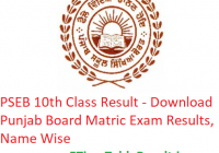 PSEB 10th Class Result 2019 - Download Punjab Board Matric Exam Results, Name Wise