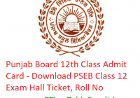 PSEB 12th Class Admit Card 2019 - Download Punjab Board Class 12 Exam Hall Ticket, Roll No