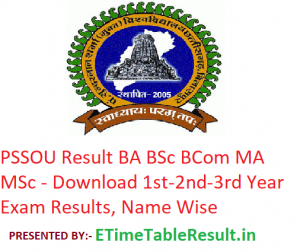 PSSOU Result 2019 BA BSc BCom MA MSc - Download www.pssou.ac.in 1st-2nd-3rd Year Results, Name Wise