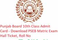 Punjab Board 10th Class Admit Card 2019 - Download PSEB Matric Exam Hall Ticket, Roll No
