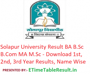 Solapur University Result 2019 - Download BA B.Sc B.Com MA M.Sc Exam Results, Name Wise