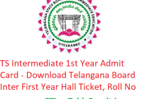 TS Intermediate 1st Year Admit Card 2019 - Download Telangana Board Inter First Year Hall Ticket, Roll No