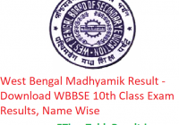 West Bengal Madhyamik Result 2019 - Download WBBSE 10th Class Exam Results, Name Wise