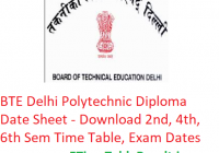 BTE Delhi Polytechnic Diploma Date Sheet 2019 - Download 2nd-4th-6th Semester Time Table, Exam Dates