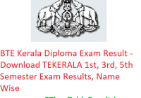 BTE Kerala Diploma Result 2018-19 - Download Polytechnic 1st-3rd-5th Sem Results, Name Wise