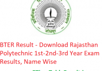 BTER Result 2019 - Download Rajasthan Polytechnic 1st-2nd-3rd Year Results, Name Wise