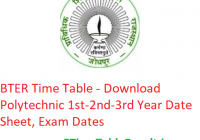 BTER Time Table 2019 - Download Polytechnic 1st-2nd-3rd Year Date Sheet, Exam Dates