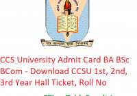 CCS University Admit Card 2019 BA BSc BCom - Download CCSU 1st-2nd-3rd Year Hall Ticket, Roll No