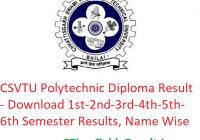 CSVTU Polytechnic Diploma Result 2019 - Download 1st-2nd-3rd-4th-5th-6th Sem Results, Name Wise