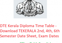BTE Kerala Diploma Time Table 2019 - Download TEKERALA 2nd-4th-6th Semester Date Sheet, Exam Dates