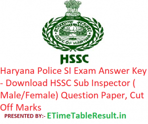 """Haryana Police SI Answer Key 2018 - Download """"2nd December"""" HSSC Sub Inspector Question Paper, CutOff"""