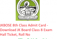 JKBOSE 8th Class Admit Card 2019 - Download JK Board Class 8 Exam Hall Ticket, Roll No