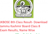 JKBOSE 8th Class Result 2019 - Download JKBOSE Class 8 Exam Results, Name Wise