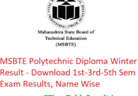 MSBTE Polytechnic Diploma Winter Result 2018-19 - Download 1st-3rd-5th Semester Exam Results, Name Wise