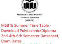 MSBTE Summer Time Table 2019 - Download Polytechnic/Diploma 2nd-4th-6th Semester Datesheet, Exam Dates
