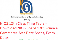 NIOS 12th Class Time Table 2019 - NIOS 12th Science Commerce Arts Date Sheet, Exam Dates