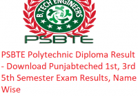 PSBTE Polytechnic Diploma Result 2018-19 - Download Punjabteched 1st-3rd-5th Sem Results, Name Wise