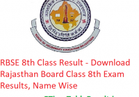 RBSE 8th Class Result 2019 - Download Rajasthan Board Class 8 Exam Results, Name Wise