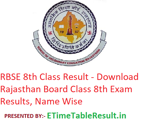 RBSE 8th Class Result 2019 - Download Rajasthan Board Class 8 Exam