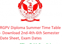 RGPV Diploma Summer Date Sheet 2019 - Download 2nd-4th-6th Sem Time Table, Exam Dates