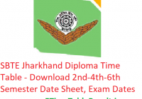 SBTE Jharkhand Diploma Time Table 2019 - Download Polytechnic 2nd-4th-6th Sem Date Sheet, Exam Dates