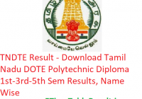 TNDTE Result 2018-19 - Download Tamil Nadu DOTE Polytechnic Diploma 1st-3rd-5th Semester Results, Name Wise