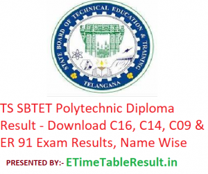 TS SBTET Polytechnic Diploma Result 2018-19 - Download C16, C14, C09 & ER - 91 Exam Results, Name Wise