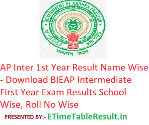 AP Inter 1st Year Result 2019 Name Wise - Download BIEAP Intermediate First Year Exam Results School Wise, Roll No Wise
