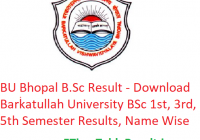BU Bhopal B.Sc Result 2019 - Download Barkatullah University BSc 1st-3rd-5th Semester Exam Results, Name Wise