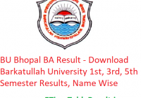 BU Bhopal BA Result 2019 - Download Barkatullah University 1st-3rd-5th Semester Exam Results, Name Wise