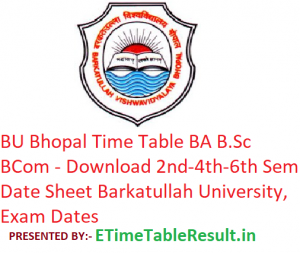 BU Bhopal Time Table 2019 BA B.Sc B.Com - Download 2nd-4th-6th Semester Date Sheet Barkatullah University, Exam Dates