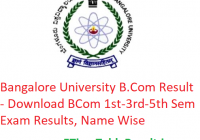 Bangalore University B.Com Result 2019 - Download BCom 1st-3rd-5th Sem Results, Name Wise