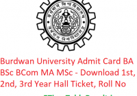 Burdwan University Admit Card 2019 BA B.Sc B.Com MA M.Sc - Download 1st-2nd-3rd Year Exam Hall Ticket, Roll No