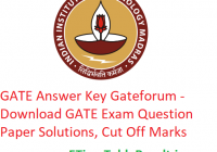 GATE 2019 Answer Key Gateforum - Download 2nd-3rd-9th-10th February GATE Exam Question Paper, CutOff